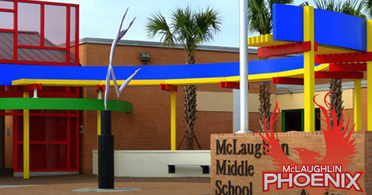 Outside of the front of McLaughlin Middle School